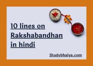 10 Lines on Rakshabandhan in hindi